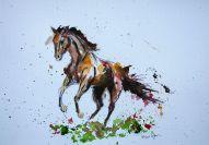 ''Vrije uitloop paard''. A4, watercolours [sold]