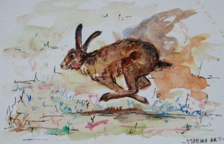 ''Hare''. A6, watercolours and ink, 2012 [sold]