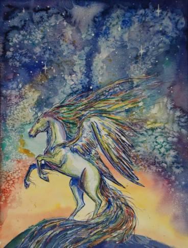 ''Pegasus''. A4, watercolours [available]
