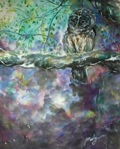 ''Owl''. A2, watercolours, 2015 [available]