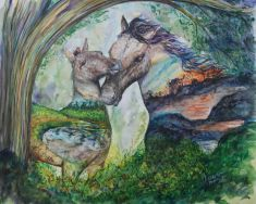''Millingerwaardpaardjes I''. A3, watercolours [available]