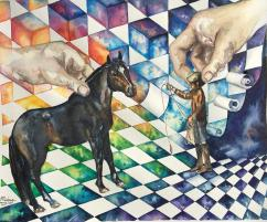 Paard Verzameld Collective ''Spanish horse'' - ''Playing Around II''. A3, watercolours [available]