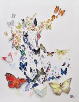 Paard Verzameld Collective ''Butterfly''. Placed within the first 15 paintings for the equine magazine Bit cover competition. A4, watercolours [sold]