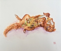 ''What would dogs dream about?''. A3, watercolours [available]