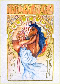 Paard Verzameld Collective ''Alphonse Mucha''. A self portrait of my horse and I, using Art Nouveau as an inspiration.A3, watercolours [private collection]