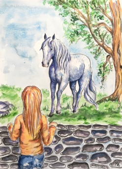 Paard Verzameld Collective ''Pony fiction book cover''.A4, watercolours [available]