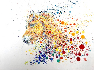 Paard Verzameld Collective ''Pointillism I''. A4, watercolours [available]