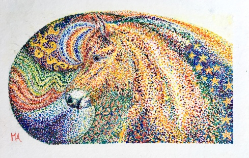 Paard Verzameld Collective ''Pointillism II''. A5, watercolours [available]