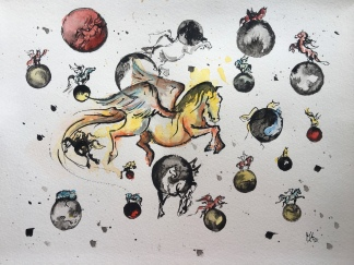 Paard Verzameld Collective ''Whimsical''. A4, mixed media [availablel]