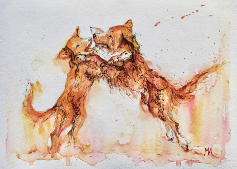 ''Boxers''. A4, watercolours, 2020 [available]