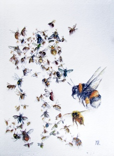 ''What do we want the world to Bee?'' A4, watercolours, 2021 [available]