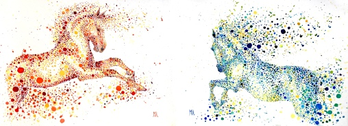 Diptych Fire & Water. Both onA4, watercolours [available]
