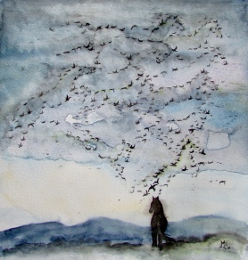 When the geese fly by. 30x30cms, watercolour [available]