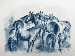 Paard Verzameld Collective challenge 'monochromatic'. A4, watercolours [available]