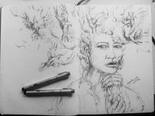 ''Bird of the girl - sketch''. Double page A4 sketchbook [private collection]