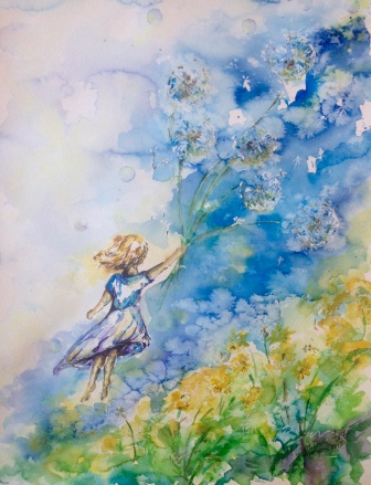 ''Fly, flower away''. A3, watercolours, 2016 [ sold]