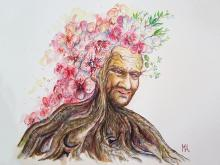 ''Oma''. A3, watercolours, 2020 [private collection]